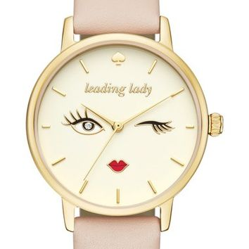 kate spade new york 'metro - wink' round leather strap watch, 34mm | Nordstrom