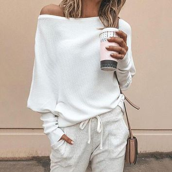 Batwing sleeve casual loose sweater tops pullover Fashion autumn off shoulder knitted sweater Solid grey white knitwear jumper
