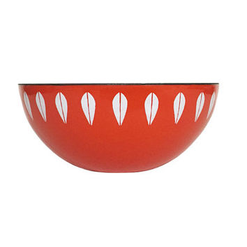 "Excellent 5.5"" Cathrineholm Enamel Lotus Bowl in Orange / Vintage Scandinavian Design / Norway / Mid Century Modern Decor"