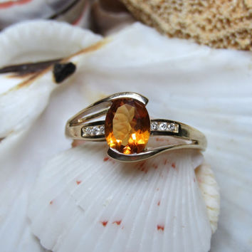 14k Mexican Fire Opal Ring w Diamonds 2.75g Size 9