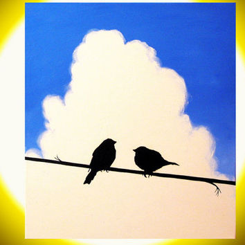 "canvas art love birds ""Love birds"" 11.75 x 15.75 Abstract Bird Art valentines day bird silhouette landscape painting contemporary art"