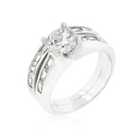 Silvertone Stackable Ring Set, size : 06