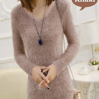 Pure Color Solid Fashion Women's Knitted V-neck Soft Furry Jumper Pullover Tops Sweater = 1946033156