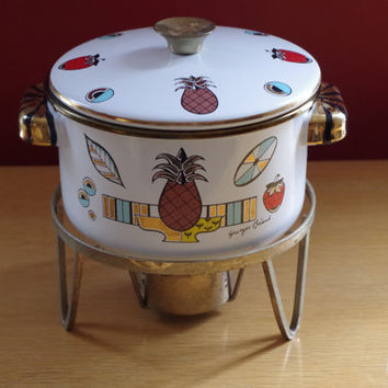 Vintage 1950s Georges Briard Ambrosia Enamel Covered Chafing Dish/Pot with Warming Stand