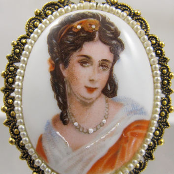 Victorian Revival Brooch Hand Painted Portrait Pendant Seed Pearl Porcelain Cameo