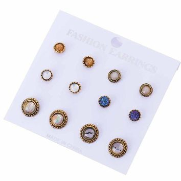 6 Pairs / Set Stud Earring Pack Set 6 Pairs Square Round Ball Resin Imitation Stones Classic For Women