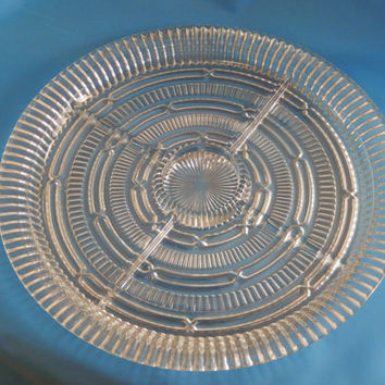 Vintage Large Round Clear Glass Divided Serving Tray