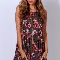 Poppy See Poppy Do Floral Dress Grey