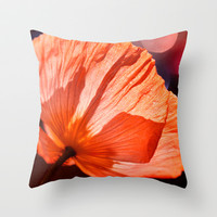 Catch the Light & Throw it Back - orange poppy macro with bokeh Throw Pillow by micklyn