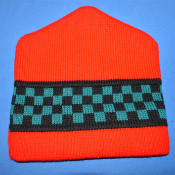 90s Red Checkerboard Beanie Winter Hat