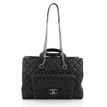 Chanel CC Chain Front Pocket Shopping Tote Quilted Goatskin Large