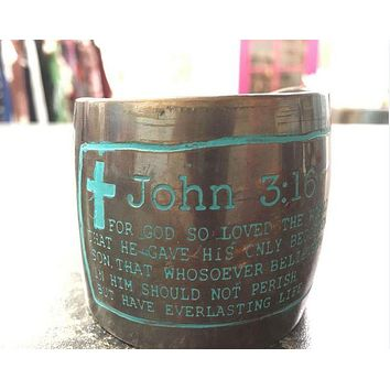 John 3:16 'For God So Loved the World' Bible Verse Cuff Bracelet