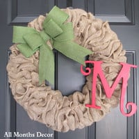 Natural Burlap Wreath with Moss Green Burlap Bow & Monogram Letter, Rustic Country, Christmas, Holiday, Fall, Home Porch Door Decor