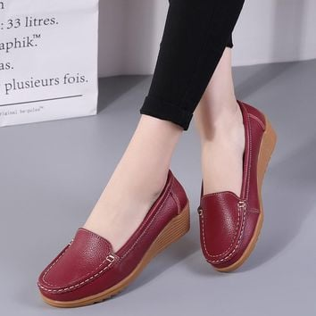 Women Flats Genuine Leather Shoes Wedge Heels Women Loafers