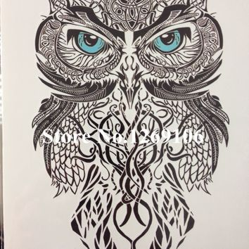 Simple Blue Eye OWL Hot Sale 21 X 15 CM Temporary Tattoo Stickers Temporary Body Art  Waterproof #58