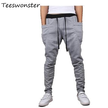 Hot Selling 2017 Mens Hip Hop Sweat Pants Harem Dance Jogger Baggy Trousers Mens Casual Cool  Rope Pants