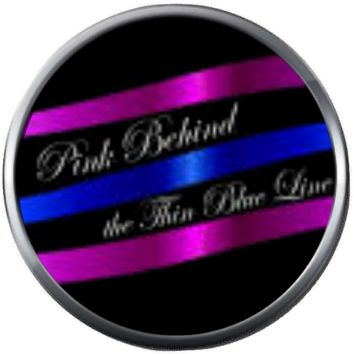 Pink Behind The Thin Blue Line Police Officer Sheriff Support  18MM - 20MM Snap Charm Jewelry New Item