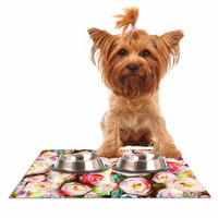 """Dawid Roc """"Pastel Rose Romantic Gifts"""" Green Photography Dog Place Mat"""