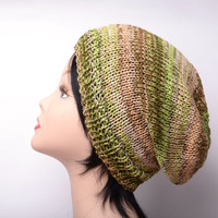 green brown beige striped knit hat beanie summer hat gift for women hat slouchy beanie hat knit slouch beanie
