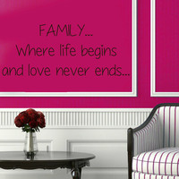 Wall Decals Quote Family Where Life Begins And Love Never Ends Vinyl Decal Sticker Art Mural Lettering Bedroom Decor Interior Design KG255
