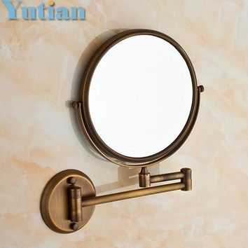 "Antique 8"" Double Side Bathroom Folding Brass Shave Makeup Mirror Wall Mounted Extend with Arm Round 1x3x Magnifying YT-9102"