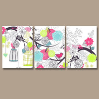 Bird Wall Art Canvas Nursery Artwork Flower Cage Floral Tree Branch Design Pink Turquoise Lime Set of 3 Prints Decor Bedroom Bathroom Three