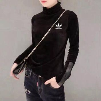 """Adidas"" Women Casual Fashion Small Logo Print Turtleneck Stitching Long Sleeve Bodycon Velvet T-shirt Tops"