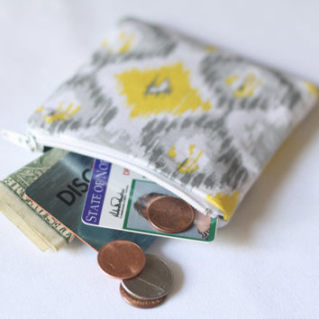 Yellow and Gray Coin Purse // Coin Pouch // Change Pouch // Tribal Print Coin Pouch // Small Zippered Pouch // Zipper Wallet