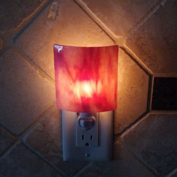 NightLight with Deep Pink Stained Glass Decorative Accent Lighting
