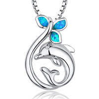 Sterling Silver Dolphin W. Blue and Green Fire Opal Pendant Necklace