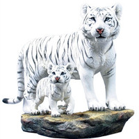 Mother White Tigress and White Cub Statue - 8356