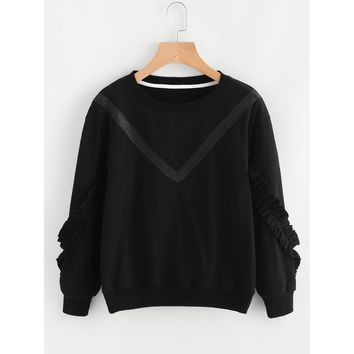 Frill Trim Sleeve Tape Detail Sweatshirt
