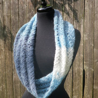 Blue ombre chevron infinity scarf, cowl scarf