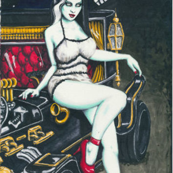 Pin Ups and skulls 8x12 stretched canvas prints (multi listing)