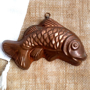 Vintage Copper Fish Mold Wall Hanging , Copper Baking Mold, Vintage Rustic Kitchen, Decorative Copper Fish Mould