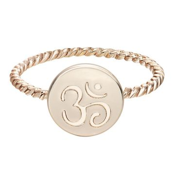 QIMING One Piece Gold Silver Plated Om Yoga Meditation Ring Fashion for Women Wedding Gift Rings