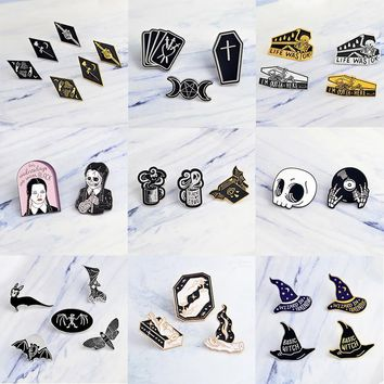 Miss Zoe 2~7pcs/set Punk dark black Brooch Witch Magic skull vampire Button Pins Denim coat Pin Badge Gothic Jewelry Gift