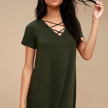 Crisscross Dark Green Shirt Dress