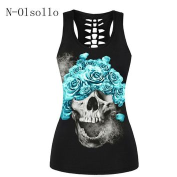 Skull Skulls Halloween Fall Hot Sale Sporting Tank Tops Fitness Women Summer Vests 2017 New Pattern Sleeveless Bandage 3D Blue Enchantress  Print Shirt Calavera