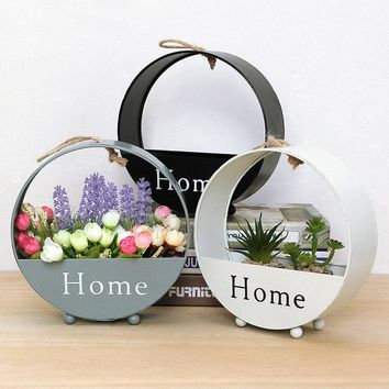 Modern Simple Wall Iron Hanging Flower Basket Living Room Balcony Wall Decorations