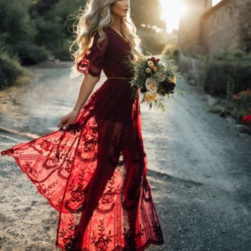Fashion sexy lace hollow  v neck wine red long dress