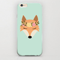 Hippie Fox iPhone 6 Case Mint Green Apple iPhone 6 Covers Unique Floral Crown Animal Vintage Baby Fox Animal Lover and Lovers Flowers Crown