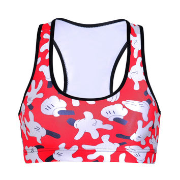 Hot Sale Print Mouse With Steel Wire Sports Bra [6533666567]