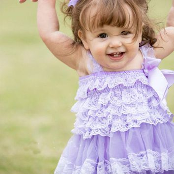 Baby Girls Clothes Flower Girls Lace Dress Newborn Baptism Dress Infant Toddler Lavender Dress Baby Photo Prop Outfit