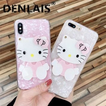 Cute Mirror Cartoon Case For Samsung Galaxy Note 9 Case 3D Hello Kitty Conch Shell Silicone Phone Case For Samsung Note 8 Note9