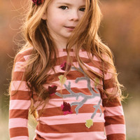 Persnickety Ruffle Sleeve Tee in Berry Striped