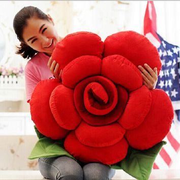 Urijk 1PC 3D Floral Shape Sofa Pillow Cushion Romantic Valentine's Day Lover Gifts Rose Flower Cotton Wedding Decorative Cushion
