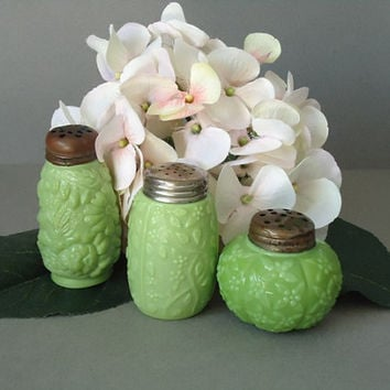 Green Glass Spice Shakers - Antique Challinor Taylor Chartreuse Shakers - Glass Salt and Pepper Shakers