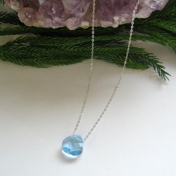 Aquamarine Swarovski Elements Briolette Pendant Necklace, Bling Necklace, Sparkle Briolette Necklace