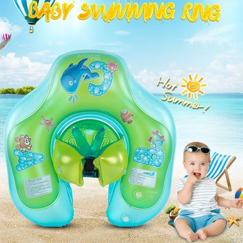 Inflatable Baby Swimming Ring Swim Trainer Safety Neck Float Pool Water Fun Toy PVC Double-layered Fixation 1.5~3-year-old Baby